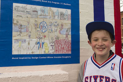 Eleven-year-old Brendan Dougherty his winning submission to the Sixers Mural Arts Contest. Photo: Christian Sarkis Graham