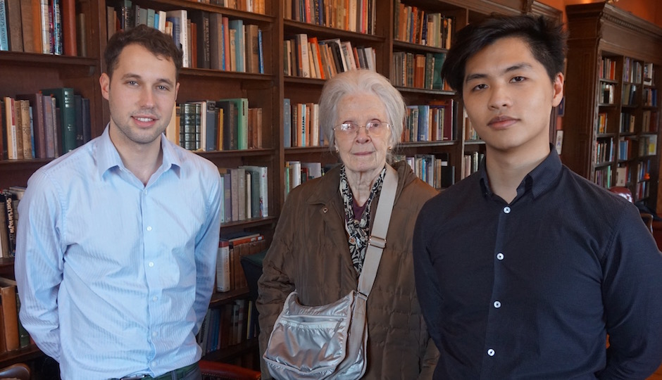 "(Left to right) 2016 Swarthmore graduate Izzy Kornblatt, Bryn Mawr College professor Barbara Miller Lane and 2016 Penn graduate Jason Tang. Kornblatt and Tang organized the Philadelphia School exhibition; Lane spoke at its opening reception on her book ""Houses for a New World,"" which includes material on the Lawrence Park and Rose Tree Woods subdivisions in Broomall, designed by [tk]."