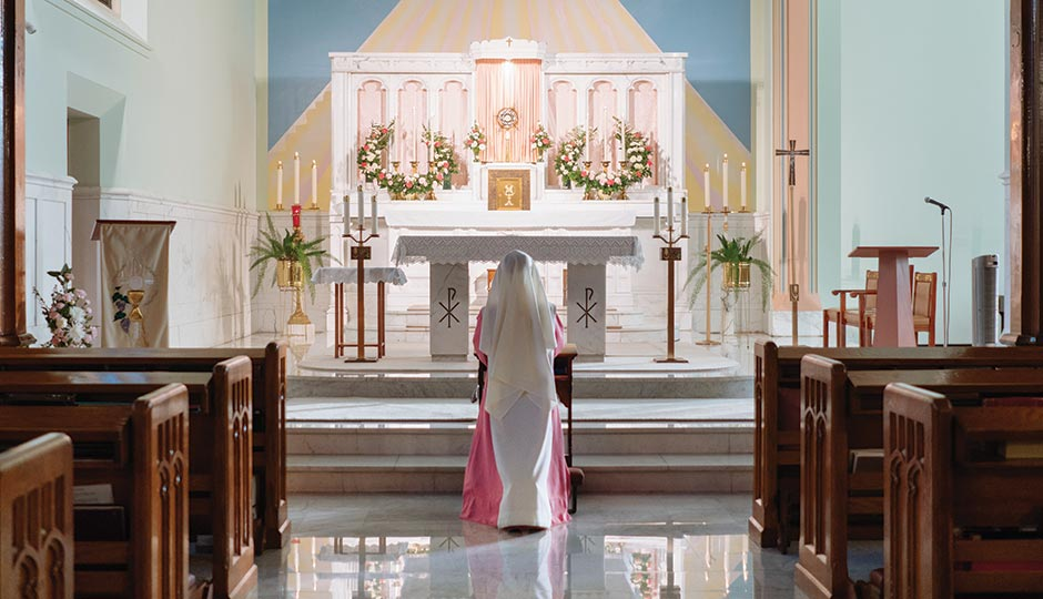 A Holy Spirit Adoration sister at prayer in the congregation's Fairmount Chapel. Photograph by Gene Smirnov.