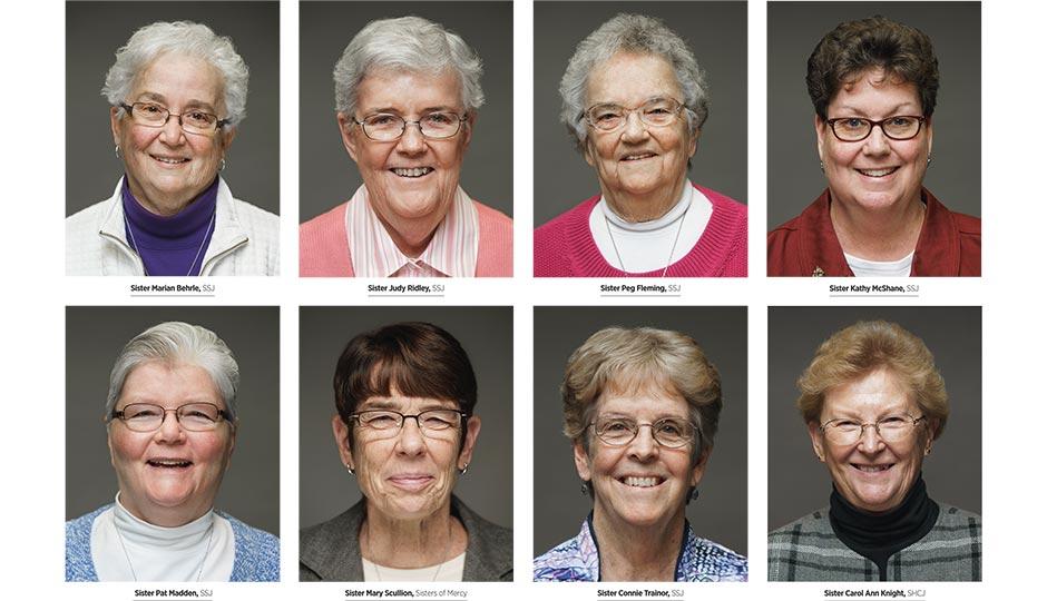 Top row, from left: Sister Marian Behrle, SSJ; Sister Judy Ridley, SSJ; Sister Peg Fleming, SSJ; Sister Kathy McShane, SSJ. Bottom row: Sister Pat Madden, SSJ; Sister Mary Scullion, Sisters of Mercy; Sister Connie Trainor, SSJ; Sister Carol Ann Knight, SHCJ. Portraits by Gene Smirnov