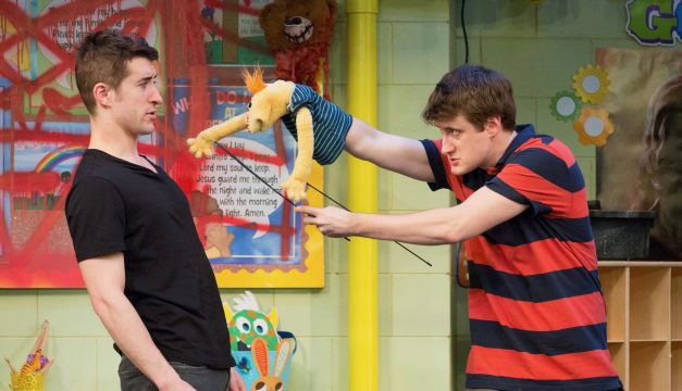Matteo Scammell and Aubie Merrylees in Hand to God at the Philadelphia Theatre Company. (Photo by Mark Garvin)