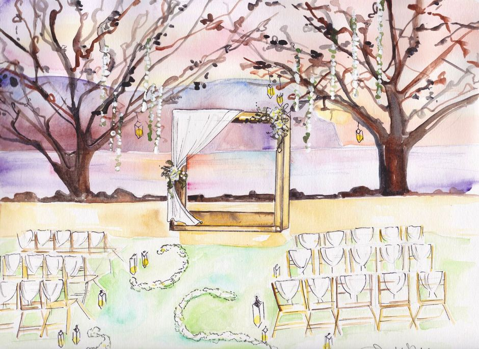 A wedding ceremony sketched by Dallas Shaw at the St. Regis Princeville.