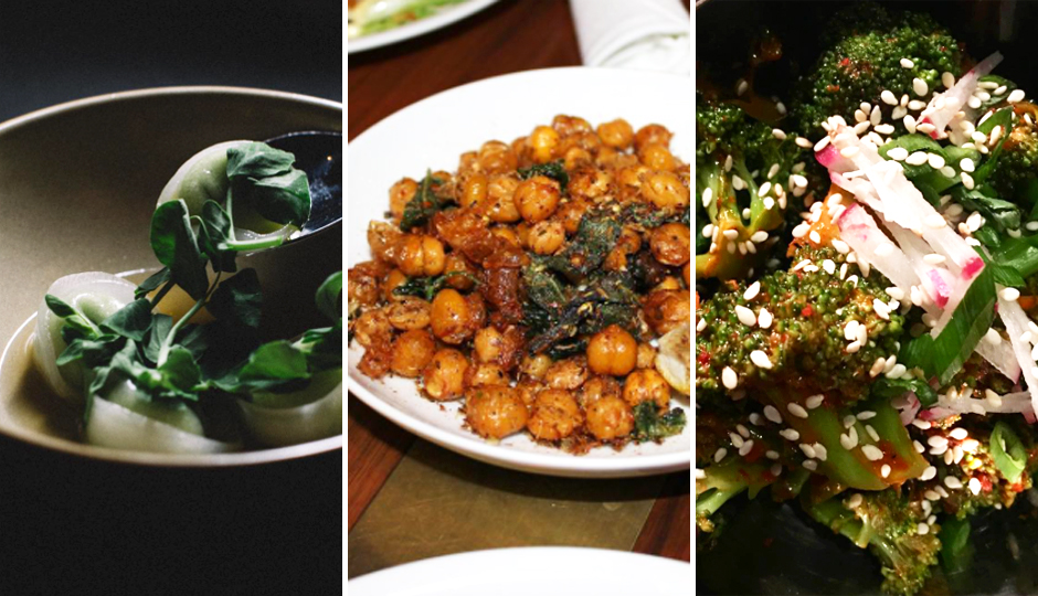 Edamame dumplings at Double Knot / Fried chickpeas at ROOT / Gochujang charred broccoli at V Street