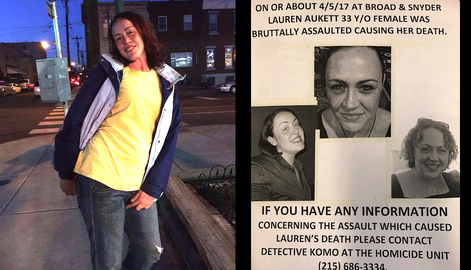 Left: The most recent photo of Lauren Aukett, taken three weeks ago. Right: One of the flyers that her family has been distributing in South Philly. (Images courtesy Carolynn Aukett-Belgiorno)