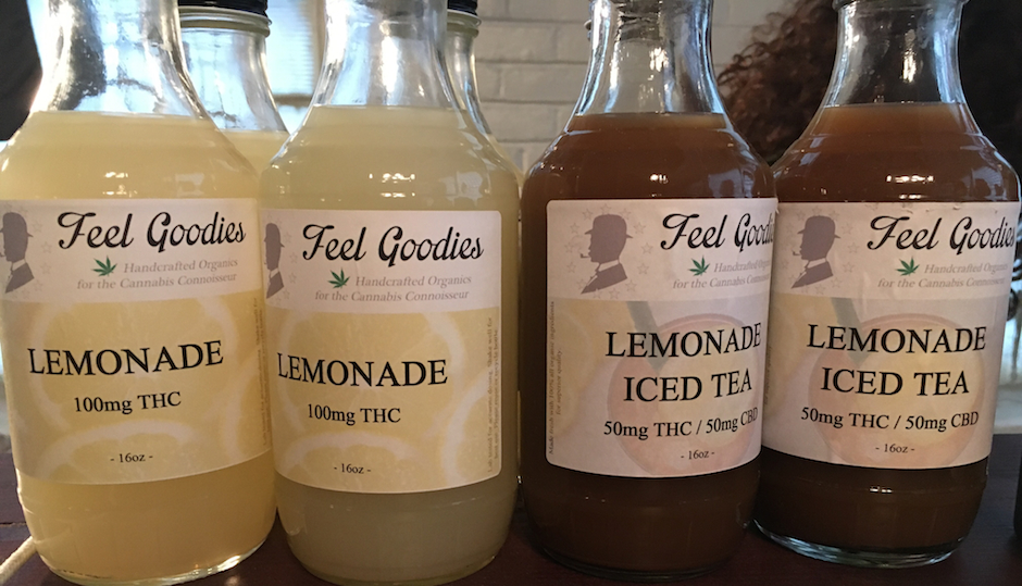 THC iced tea and lemonade for sale at N.A. Poe's pot party in Northeast Philly on Saturday.