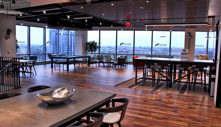 Open sppace at Nasdaq PHLX office in FMC Tower. Photo courtesy of Nasdaq.
