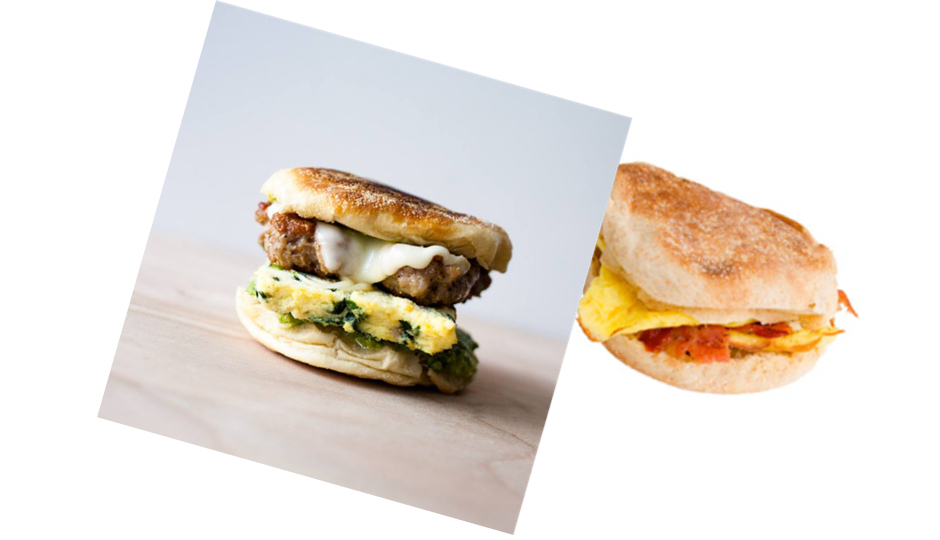 Res Ipsa breakfast sandwich (left)
