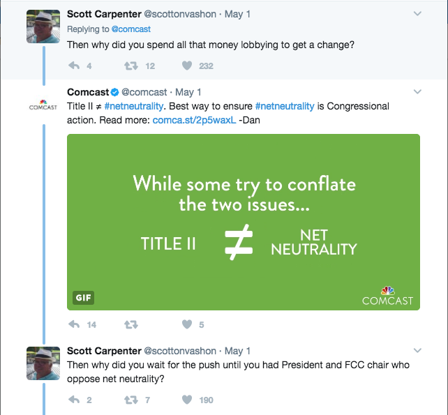 Comcast Is Fighting an Embarrassing Net Neutrality War on Twitter