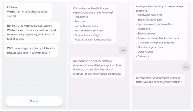 fc2e0571a9 Screenshots from Prescription Check s Health Questionnaire. Warby Parker ...