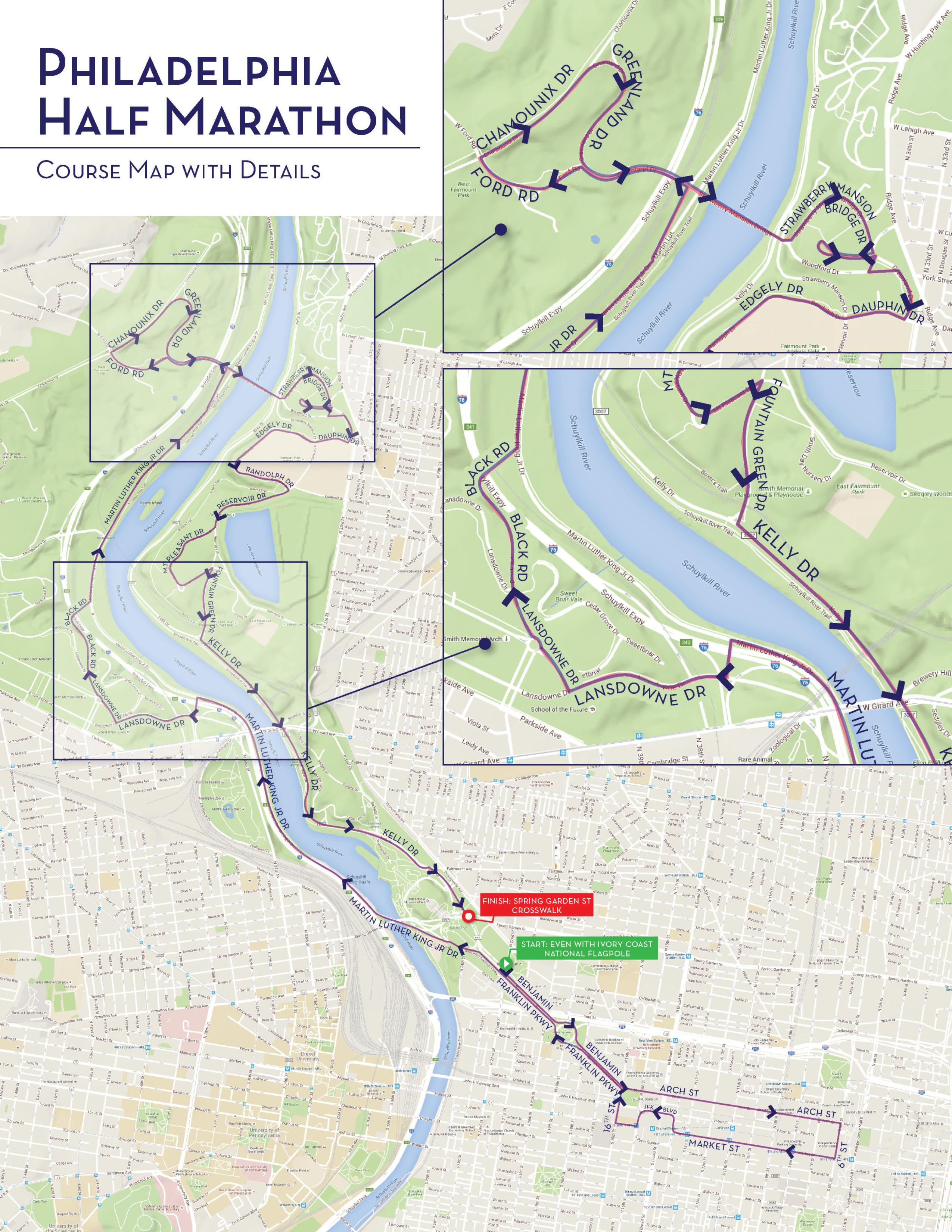 philadelphia marathon course map What The Philadelphia Marathon S Half Marathon Course Looks Like philadelphia marathon course map