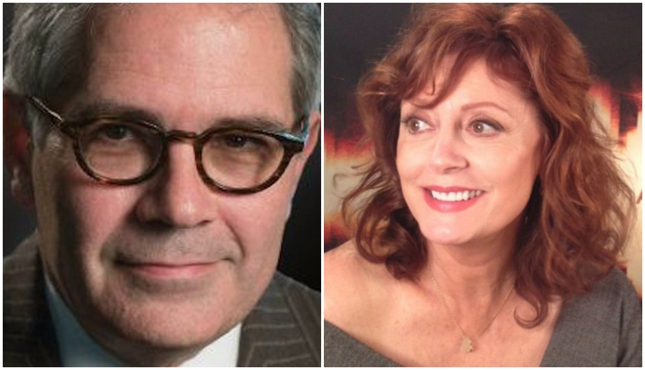 L: Courtesy of Larry Krasner's campaign   R: Susan Sarandon via Sillygoosefilms/Wikimedia Commons