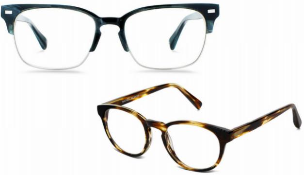 Top: Ames frames. Bottom: Percey frames. Photos via warbyparker.com