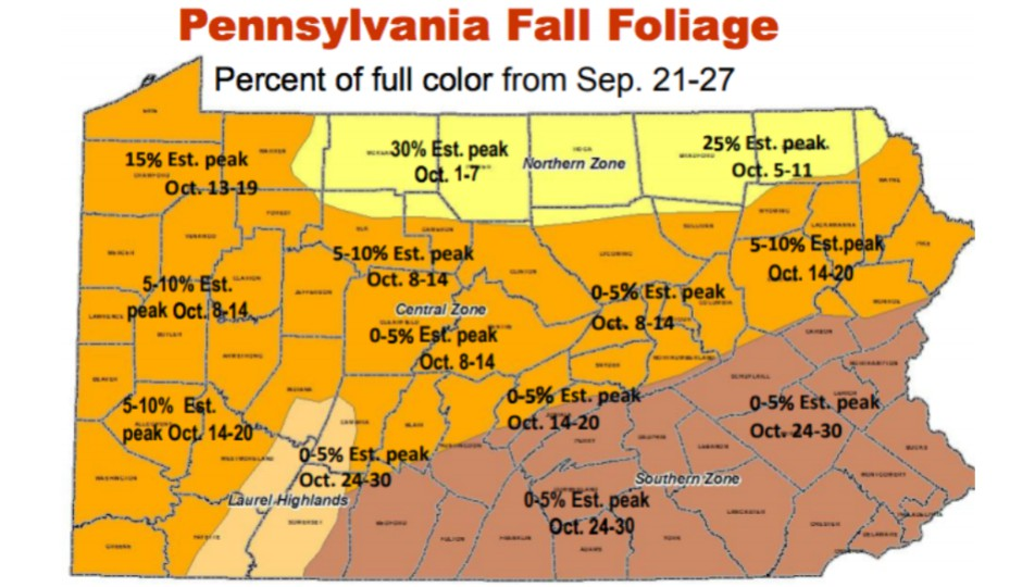 Peak Foliage Map Here's a Map of When Pennsylvania's Leaves Will Reach Peak Color Peak Foliage Map