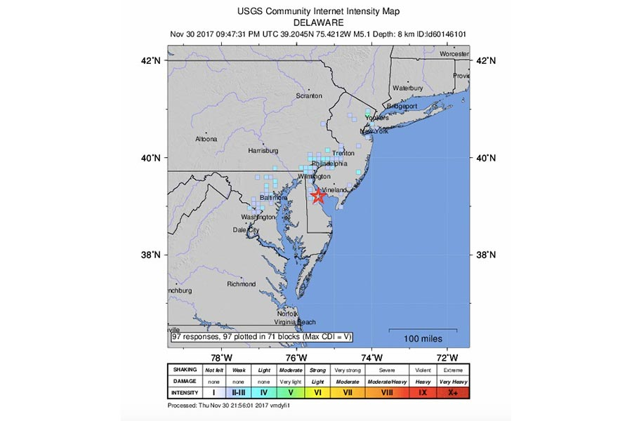 6abc s cecily tynan is reporting that the quake centered in delaware was the strongest ever recorded in our area it s size has been upgraded and