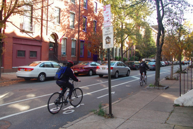 spruce street, bike lane