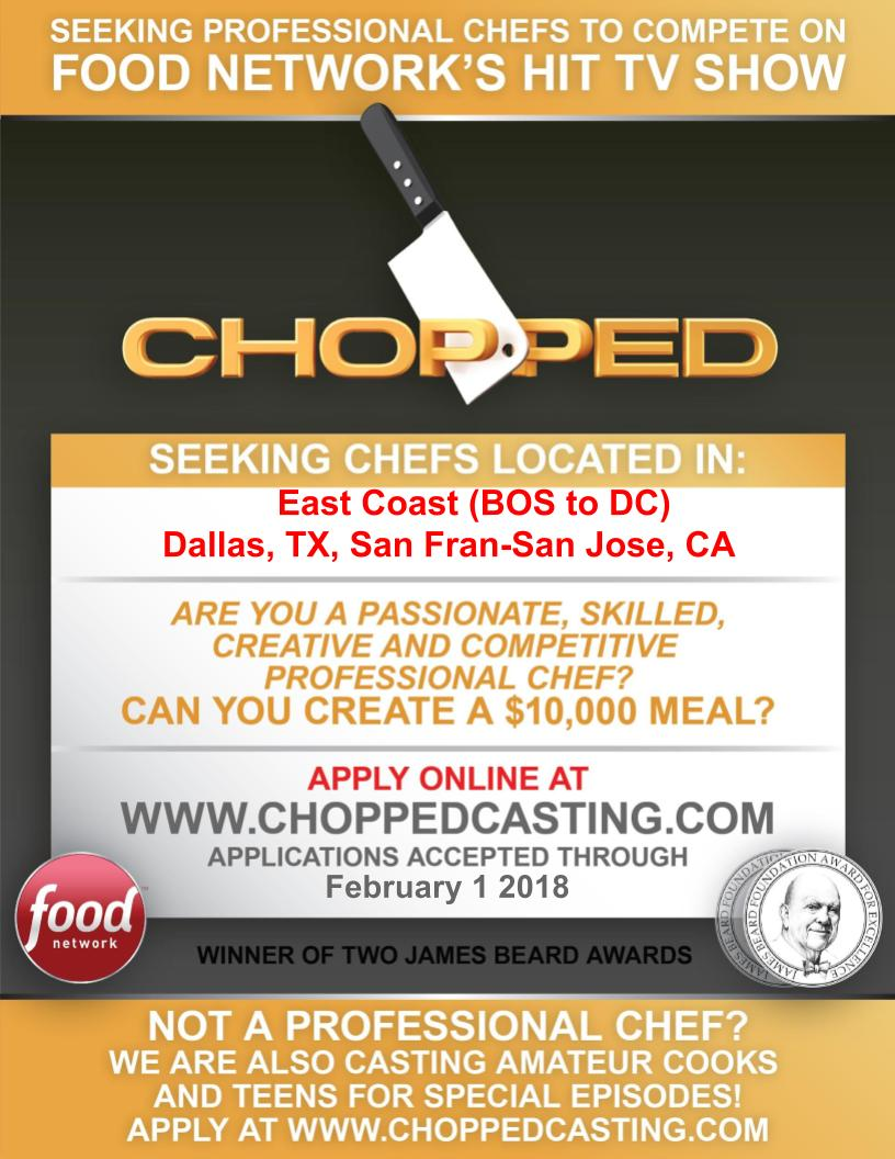 sharpen your knives, chefs: chopped is casting in philly