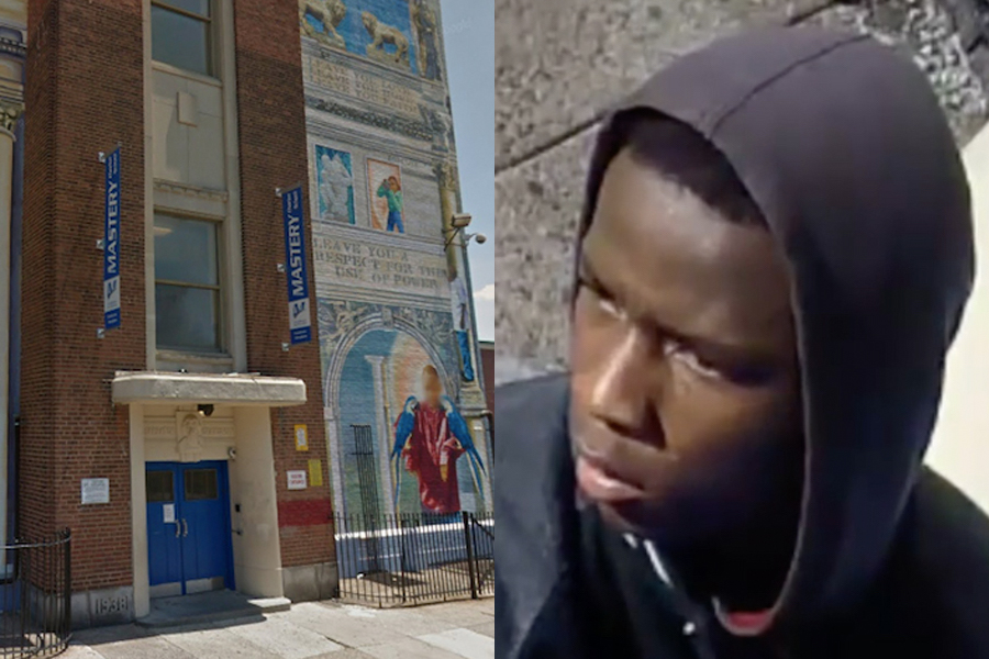 L: Mastery Charter School (via GoogleMaps) | R: Unidentified suspect  (courtesy of PPD).