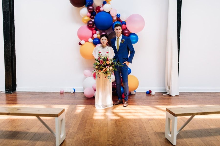 Modern and colorful balloon wedding decor inspiration skybox events located at 2424 york street is a prime local industrial venue with tons of natural light and a neutral pallet making it the perfect blank solutioingenieria Images