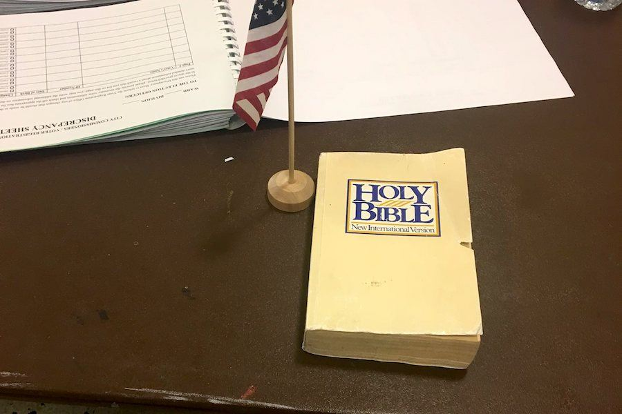 a bible at a polling place in Philadelphia