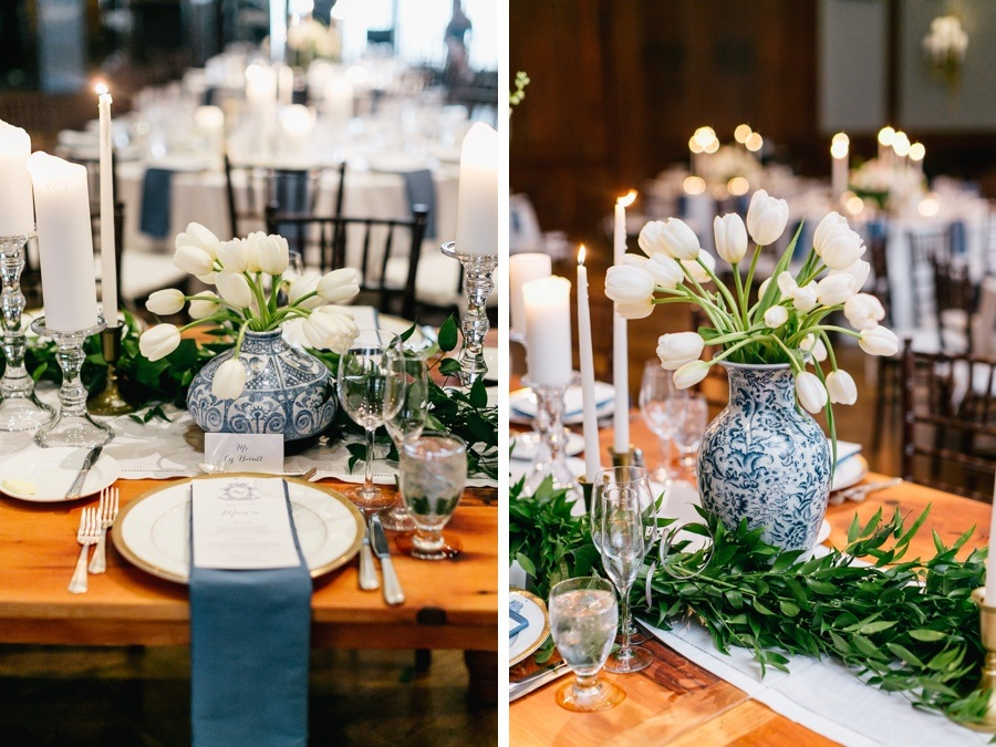 Classic Blue And White Wedding Filled Ginger Jar Decor