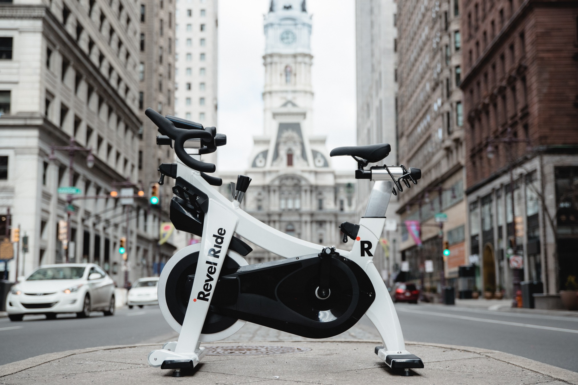 A Revel Ride bike in front of City Hall