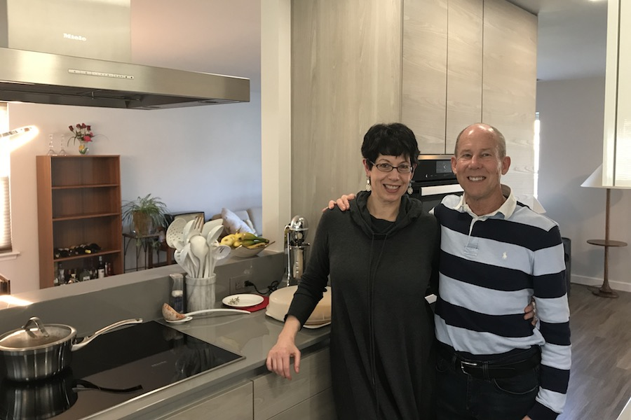 kitchen makeover showing owners