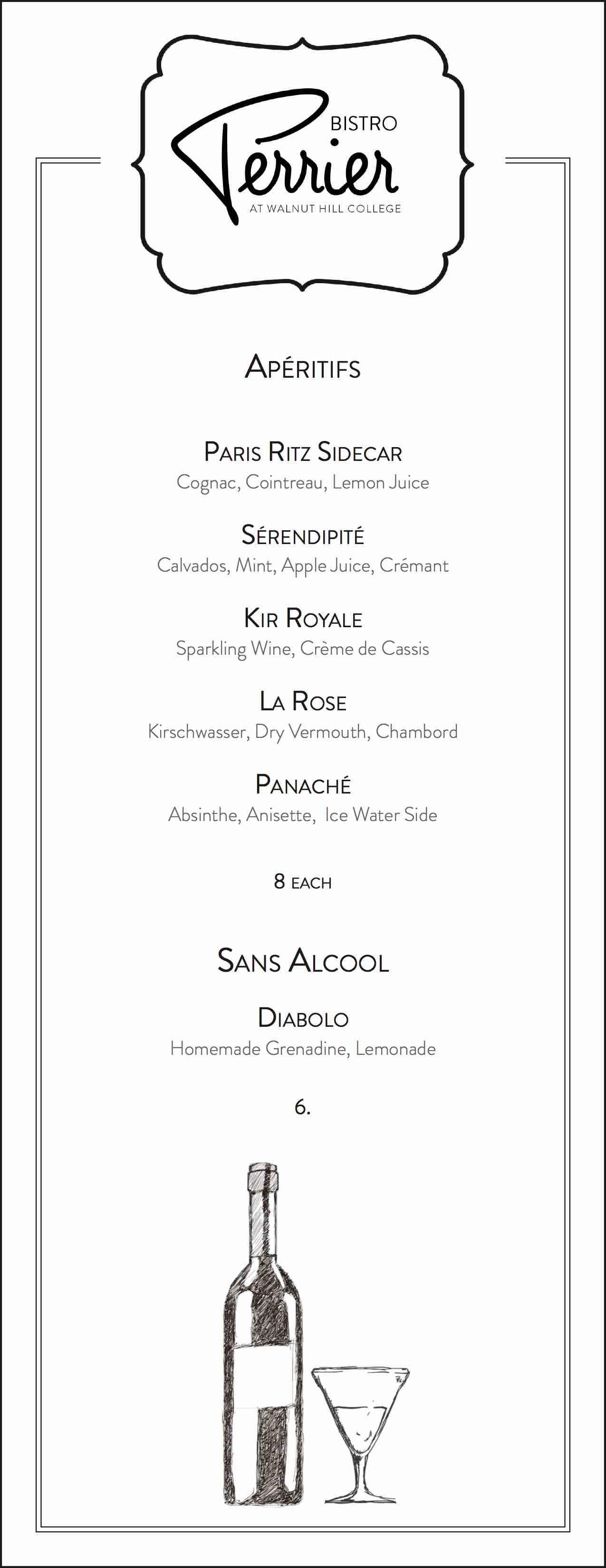 bistro perrier cocktail menu