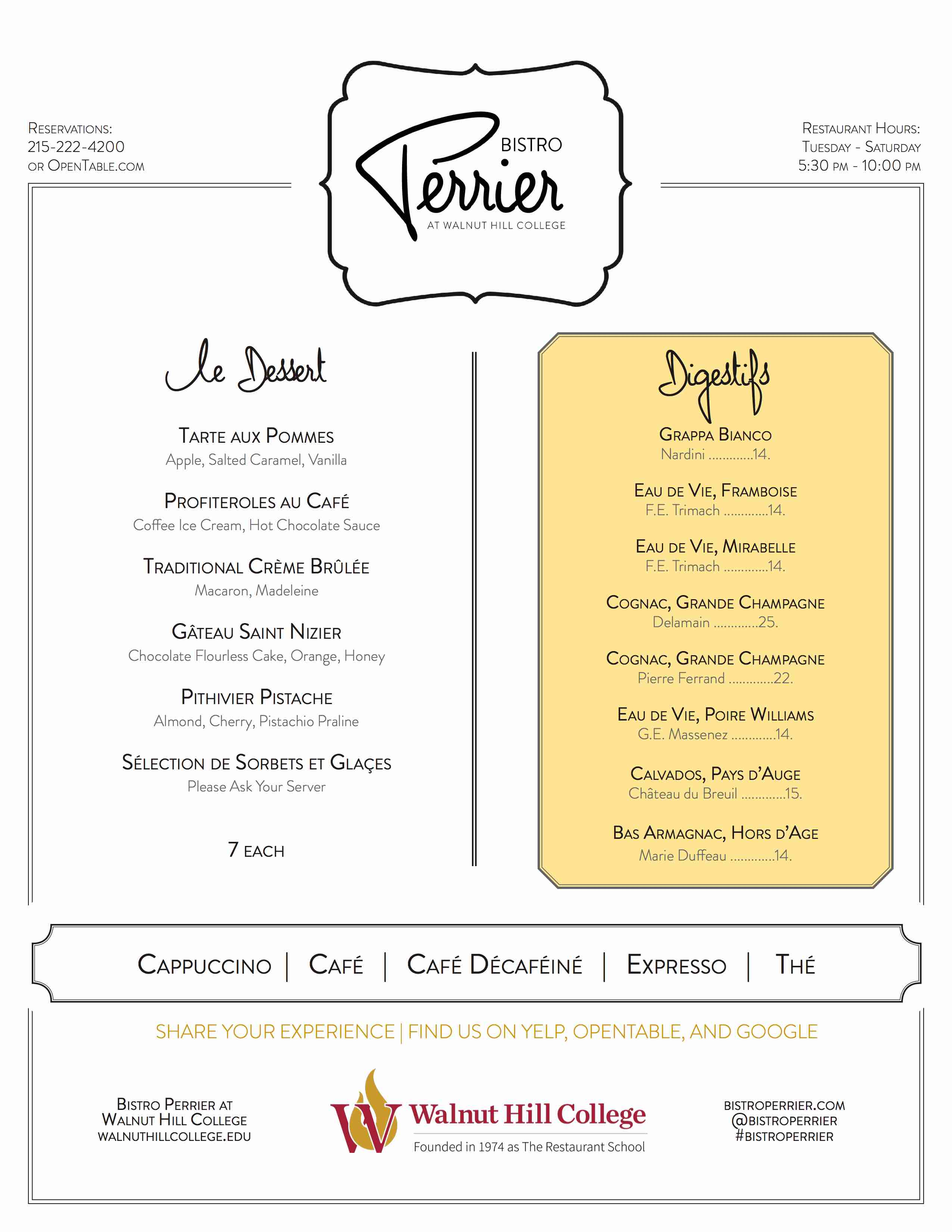bistro perrier dessert menu
