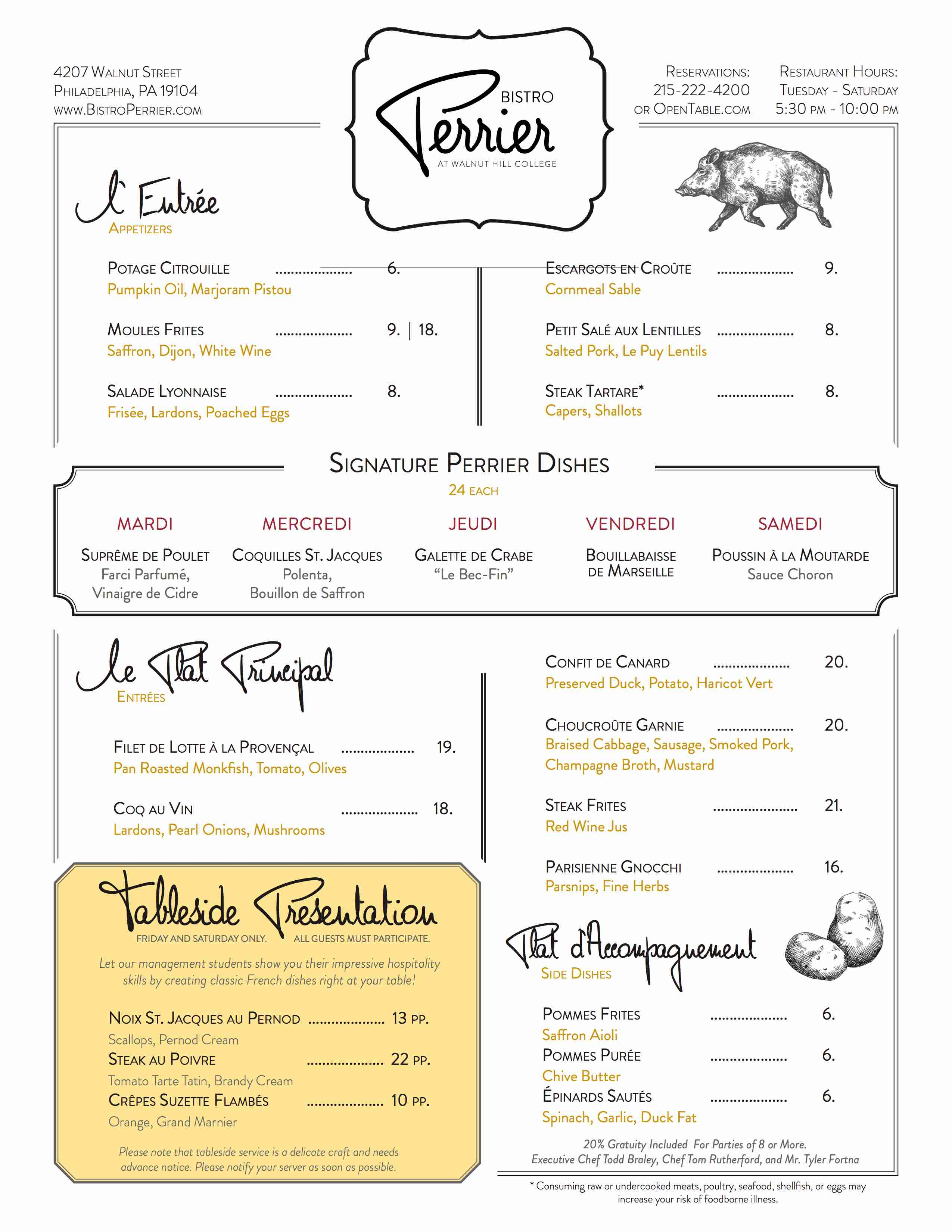 bistro perrier dinner menu