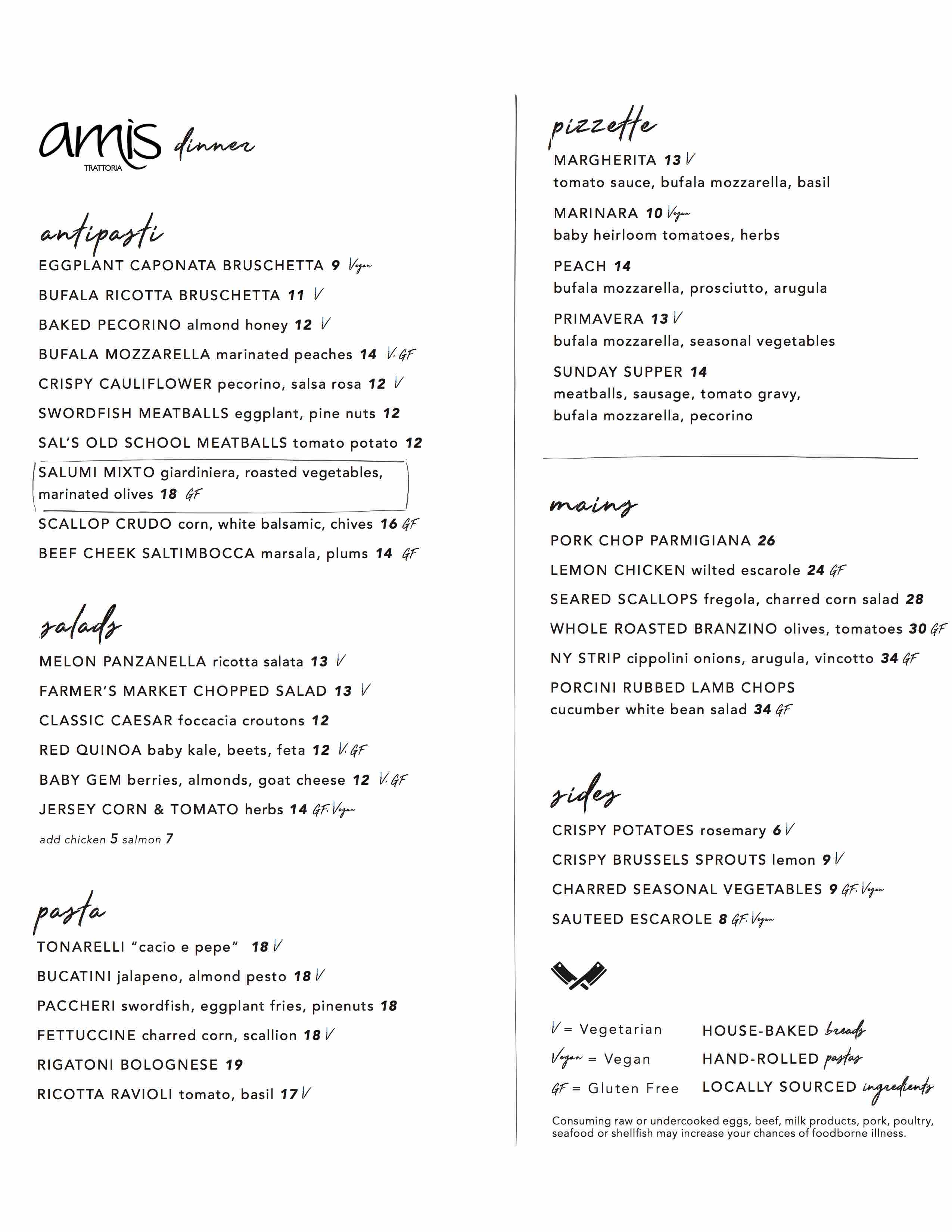 devon yard amis trattoria dinner menu