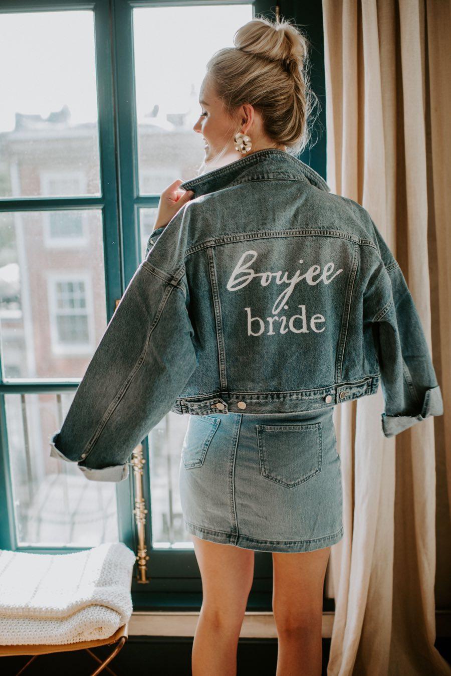 house of catherine boujee bride jean jacket