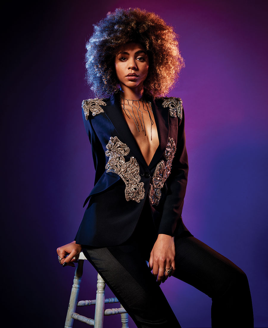 night out outfits embellished blazer cigarette trousers