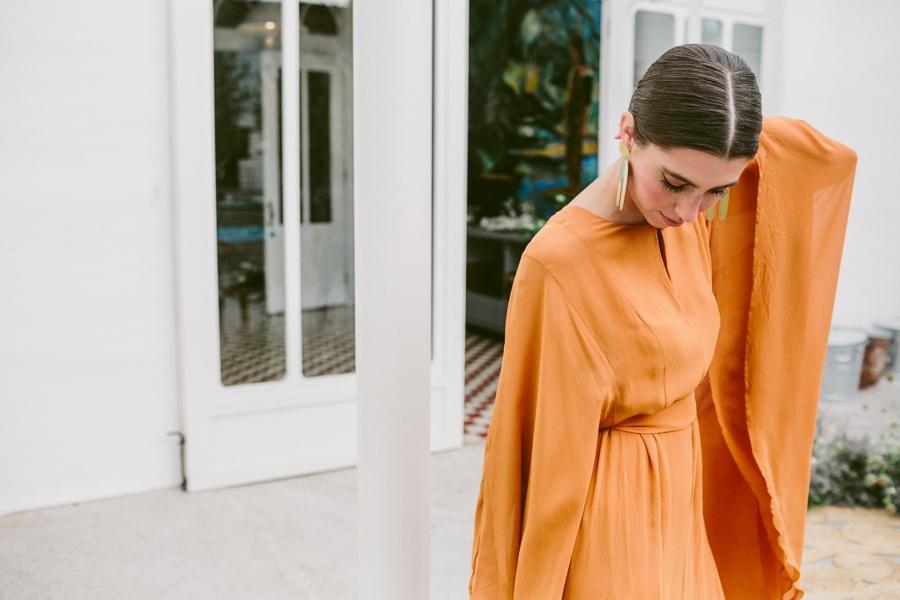 amelia brown orange wedding dress