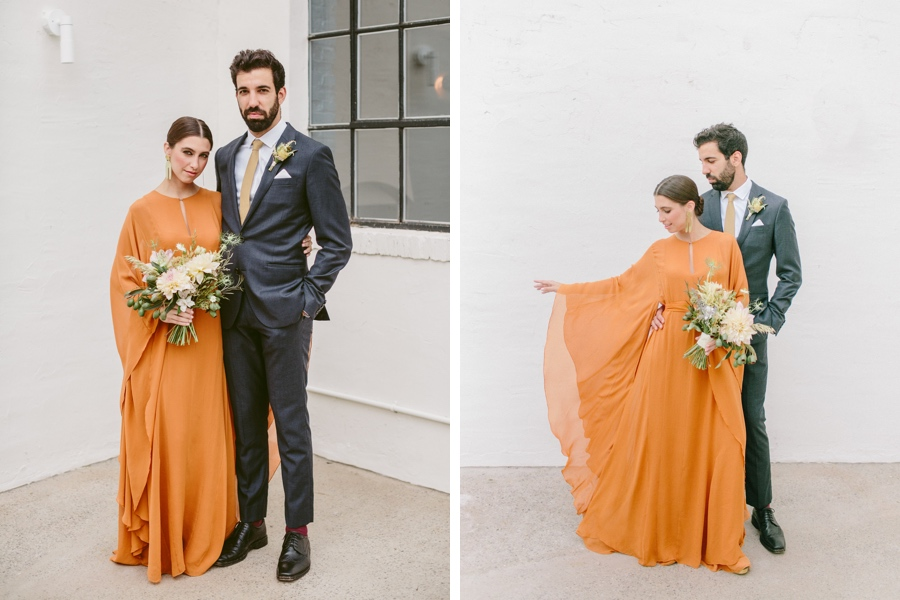 amelia brown orange wedding dress