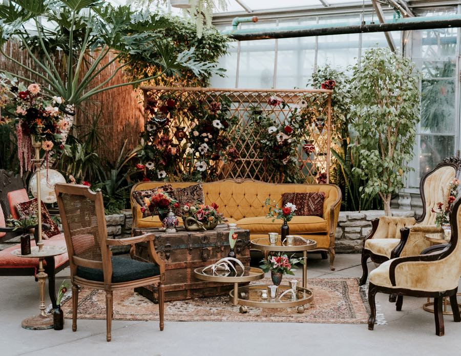 boho wedding cocktail lounge