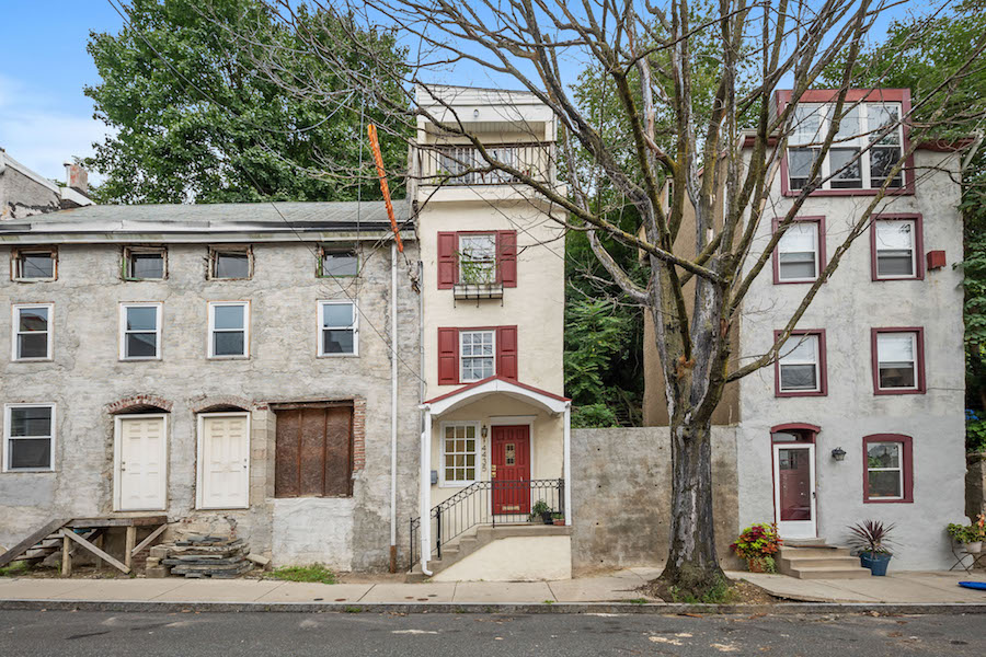 house for sale manayunk narrow trinity front elevation