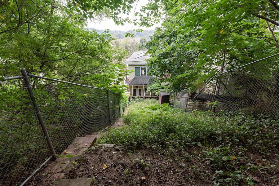 house for sale manayunk narrow trinity rear elevation from backyard