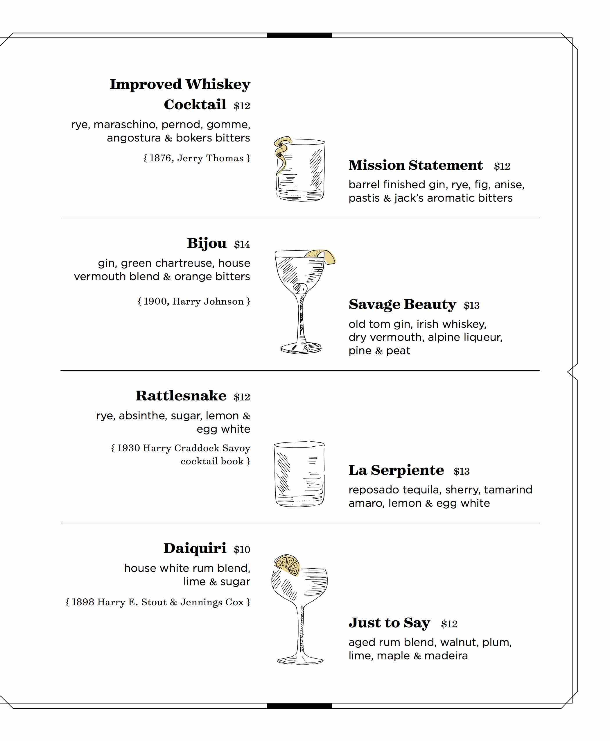 root r&d cocktail bar menu