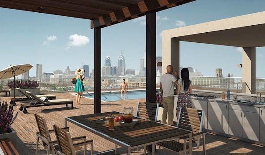 apartments for rent umbrella building roof deck rendering