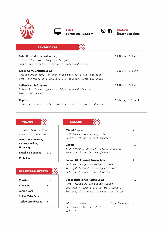 ca phe roasters pop up darnels cakes menu