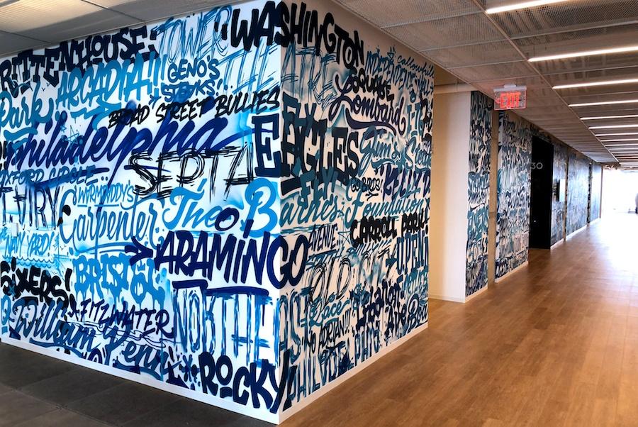 comcast technology center tour corridor art