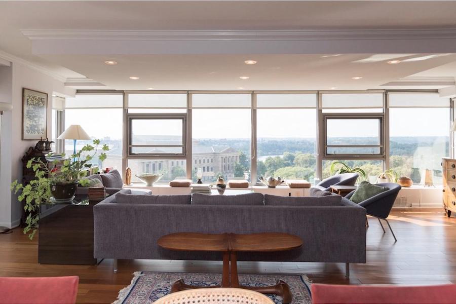 condo for sale art museum philadelphian corner unit living room view