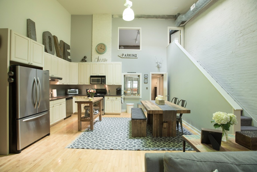 condo for sale northern liberties industrial loft dining room and kitchen