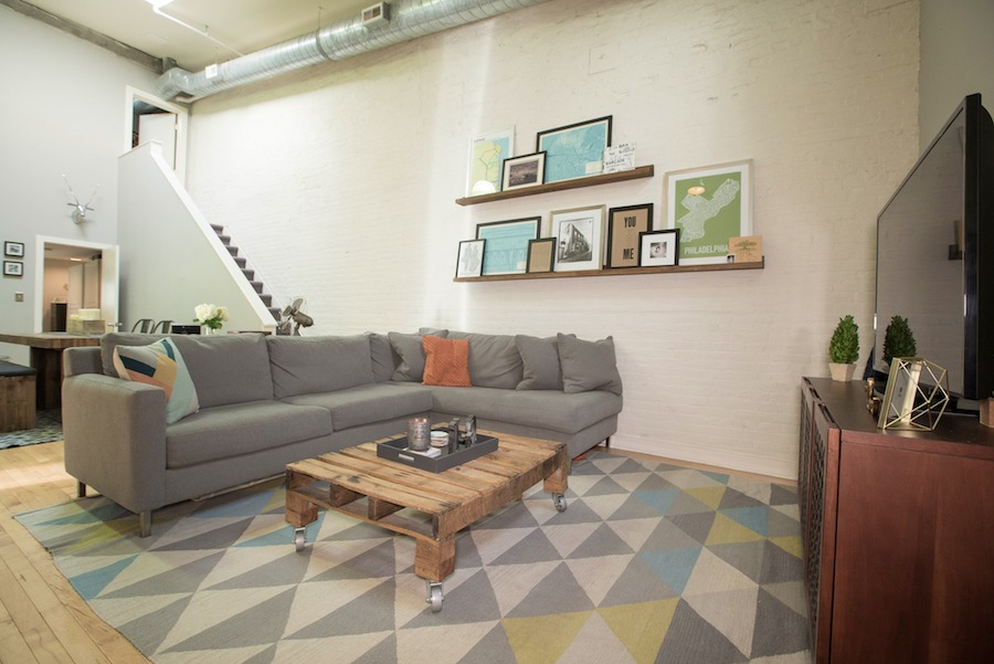 condo for sale northern liberties industrial loft living room