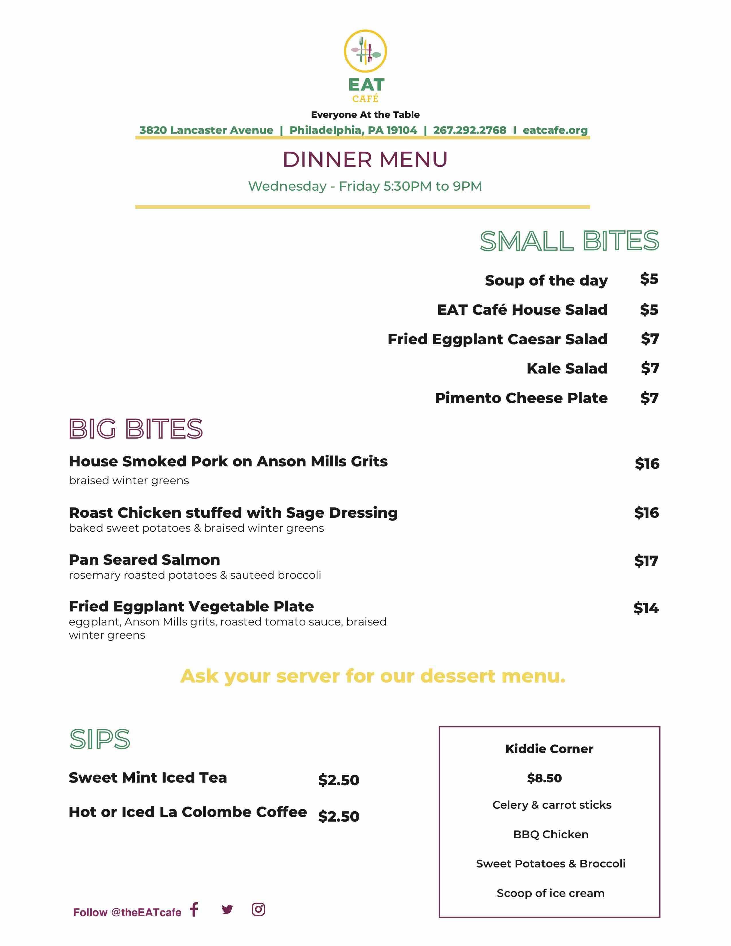 eat cafe dinner menu university city