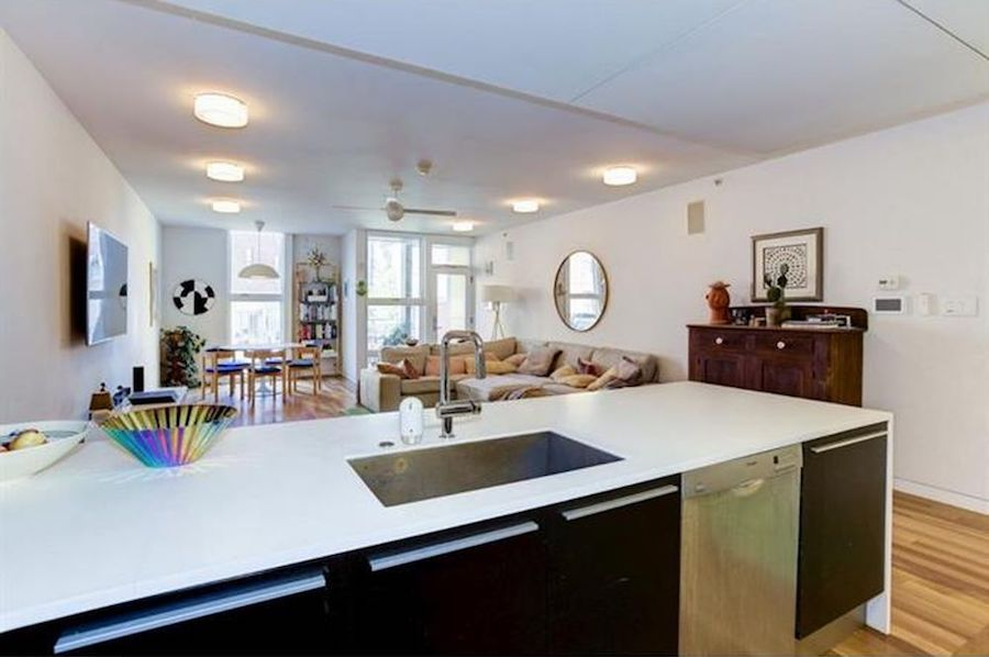 house for sale northern liberties leed platinum condo main room kitchen view