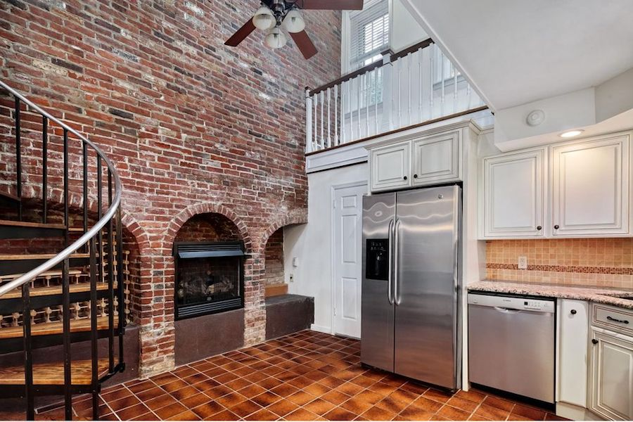 house for sale society hill federal loft kitchen and fireplace