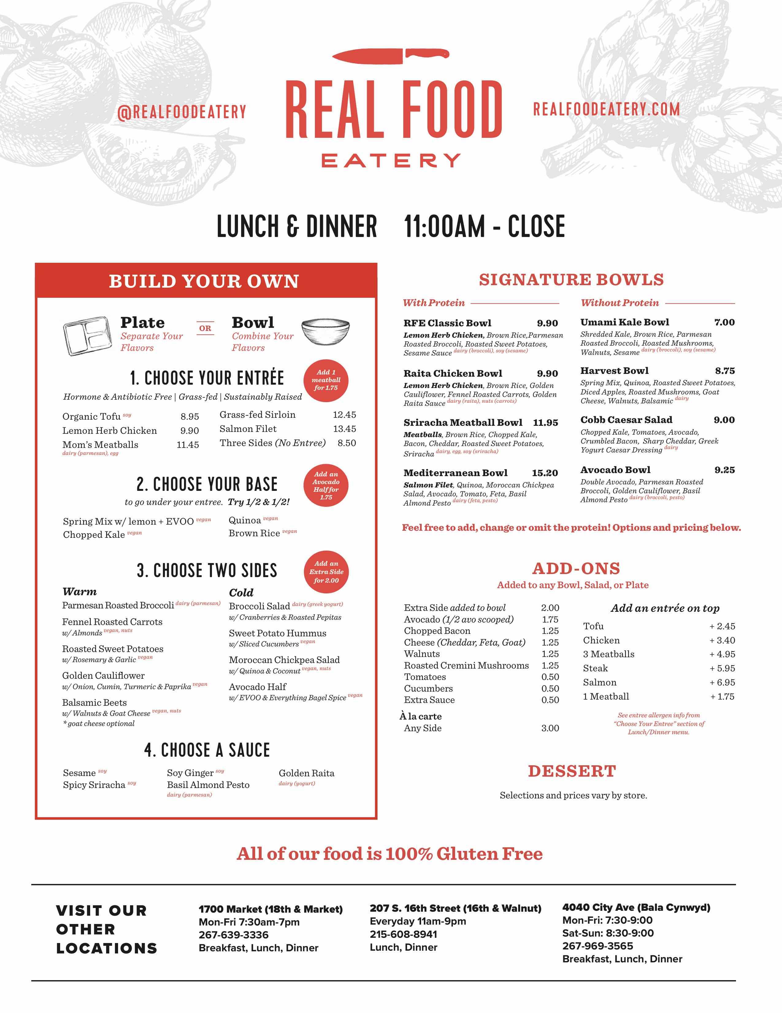 real food eatery philadelphia menu