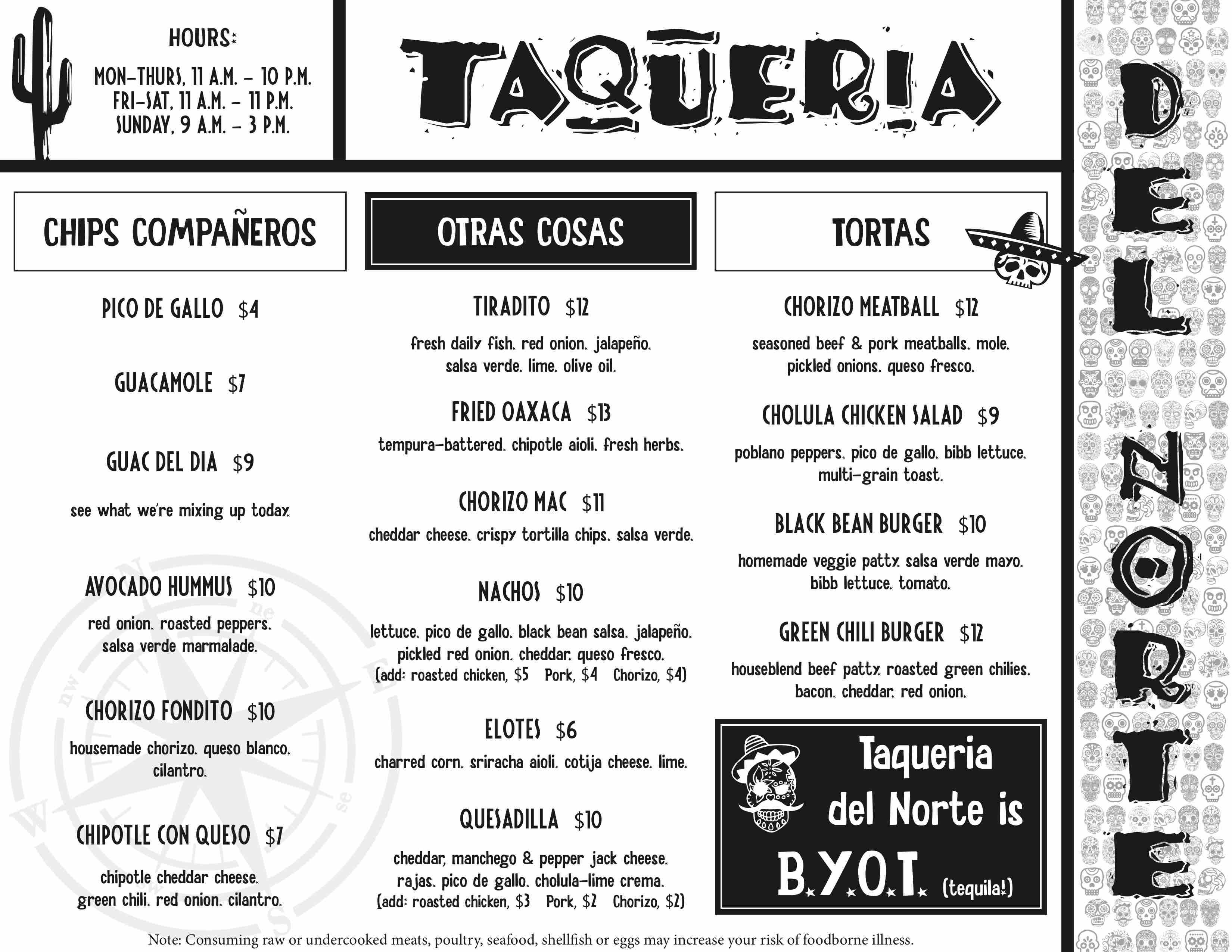 taqueria del norte phildelphia menu