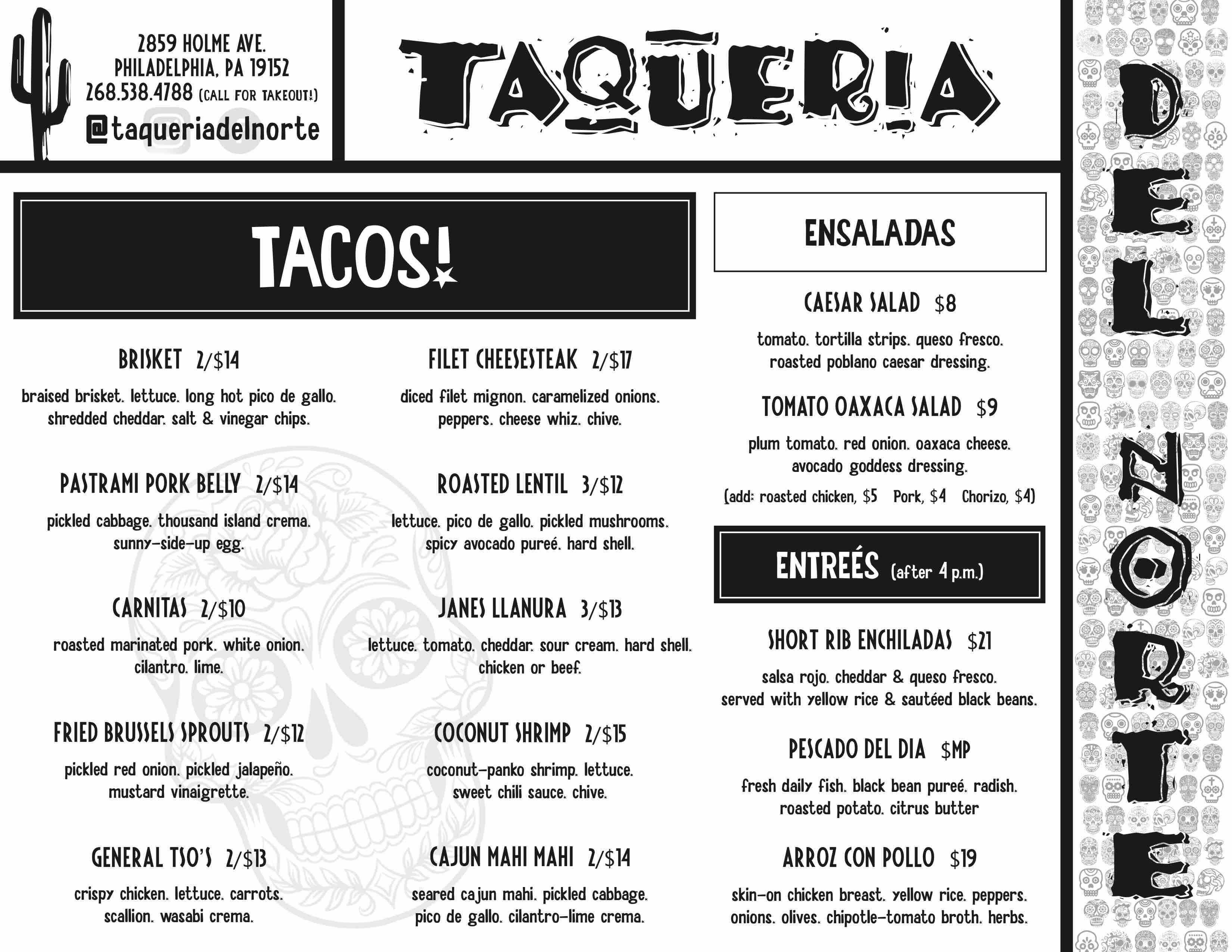 taqueria del norte northeast philadelphia menu tacos